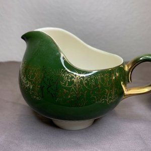 2 Vintage Homer Laughlin Creamer Gold & Green
